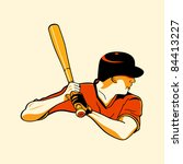 Baseball batter in retro three color print halftone pattern - stock photo