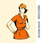 Retro fashion girl in three color print halftone pattern - stock photo