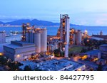 cement factory at night - stock photo