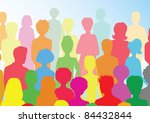 colorful crowd | Shutterstock . vector #84432844