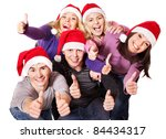 Group Young People In Santa Hat ...