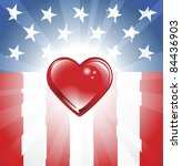 A background featuring Heart shape and stars and stripes background - stock photo