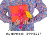 man with a gift box and a... | Shutterstock . vector #84448117