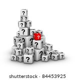 pile of big and small dices with question marks - stock photo