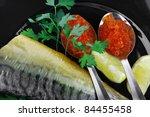 golden smoked herring and fresh ... | Shutterstock . vector #84455458