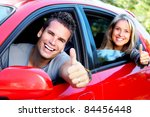 happy smiling couple in a car.... | Shutterstock . vector #84456448