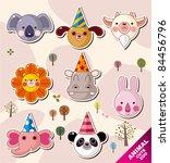 cartoon animal icons   Shutterstock .eps vector #84456796