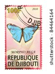 Small photo of DJIBOUTI - CIRCA 2010: A stamp printed in Djibouti showing The Aega Morpho butterfly, circa 2010