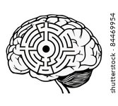 Stock vector brain with labyrinth model maze vector illustration 84469954