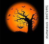 halloween night background with ... | Shutterstock .eps vector #84471991