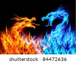 Abstract blue and red fiery dragons. Illustration on black background for design - stock vector