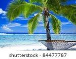 Empty Hammock Between Palm...