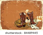 cowboy elements with rope and... | Shutterstock .eps vector #84489445