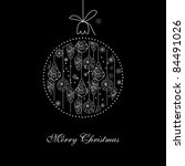 black and white christmas... | Shutterstock . vector #84491026