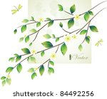 Green Leaves Design With...