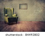 Stock photo vintage room with wallpaper and old fashioned armchair rustic interior design 84492802