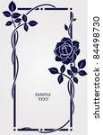 Stock vector vector frame with rose vintage floral frame 84498730