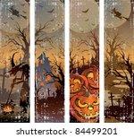 set of  halloween banners | Shutterstock .eps vector #84499201