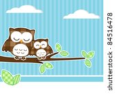 Card With Two Owls On Branch A...