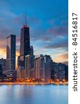 Chicago. Twilight Blue Hour At...
