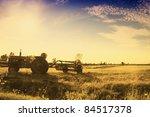 Vintage Tractor In Field Left...