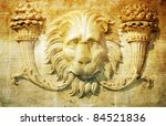 Lion head background - stock photo