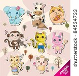 cartoon animal icons | Shutterstock .eps vector #84534733
