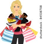 illustration of a girl carrying ... | Shutterstock .eps vector #84538708