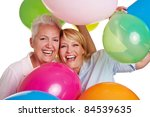 Two Happy Senior Women Cheerin...