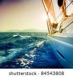 Yacht Sailing Against Sunset...