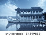marble boat at summer palace in beijing,China - stock photo