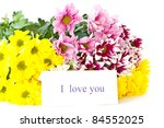 beautiful bouquet of yellow chrysanthemums on a white background - stock photo