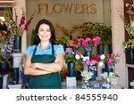 man standing outside bakery cafe | Shutterstock . vector #84555940
