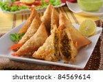 fried beef samosa   Shutterstock . vector #84569614