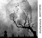 Spooky Image Of Cemetery In A...