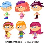 set cartoon children  pupils | Shutterstock .eps vector #84611980