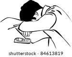 a design student sleeps sitting ... | Shutterstock . vector #84613819