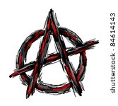 painted anarchy symbol on white ... | Shutterstock . vector #84614143
