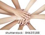 group of people's hands...   Shutterstock . vector #84635188