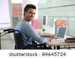 man sitting at desk in... | Shutterstock . vector #84645724
