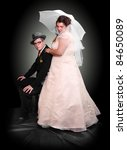 Bride and groom of their wedding day. Retro style photography. - stock photo