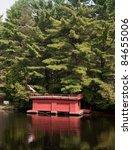 Red boathouse - stock photo