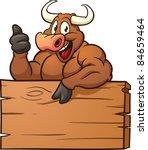 happy cartoon bull with a...