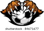 soccer ball with bear claws... | Shutterstock .eps vector #84671677
