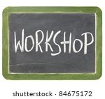 workshop word in white chalk... | Shutterstock . vector #84675172
