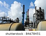 oil  refinery and oil train wagons - stock photo