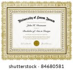 vector ornate diploma and frame.... | Shutterstock .eps vector #84680581