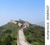 the great wall of China,an impregnable bulwark in beijing - stock photo
