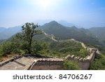 without the restoration of the great wall in beijing,China - stock photo