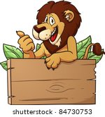 cartoon lion with wooden sign....